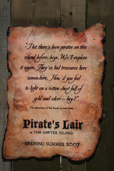 Pirates Lair under construction plaque