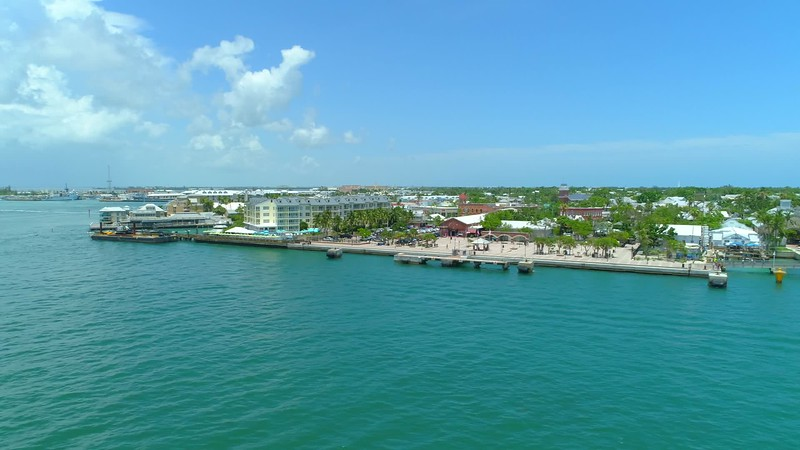 Aerial drone b roll footage Key West Mallory Square 4k 24p