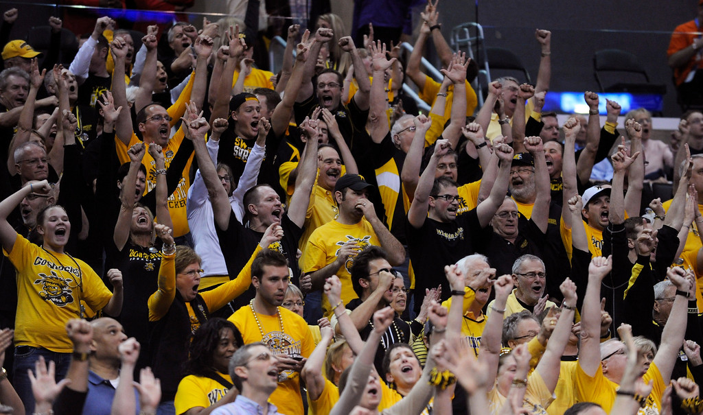 . Wichita State fans celebrate in the second half. Wichita defeated La Salle 72-58 at Staples Center for the West Regional of the NCAA Division I Men\'s Basketball Championships. Los Angeles,CA 3/28/2013(John McCoy/Staff Photographer