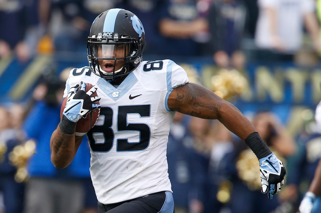 . North Carolina tight end Eric Ebron (85) in action in an NCAA football game between Pittsburgh and North Carolina, Saturday, Nov. 16, 2013 in Pittsburgh. (AP Photo/Keith Srakocic)