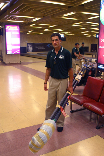 Karachi Airport.  Asad holding some of our oars.  We had to take our baggage and recheck it to Sri Lanka.