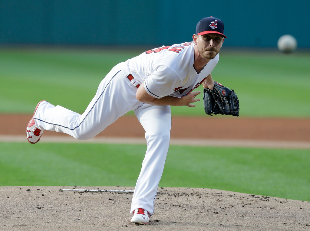 . Cleveland Indians starting pitcher Josh Tomlin delivers in the first inning of a baseball game against the Chicago White Sox, Saturday, June 10, 2017, in Cleveland. (AP Photo/Tony Dejak)