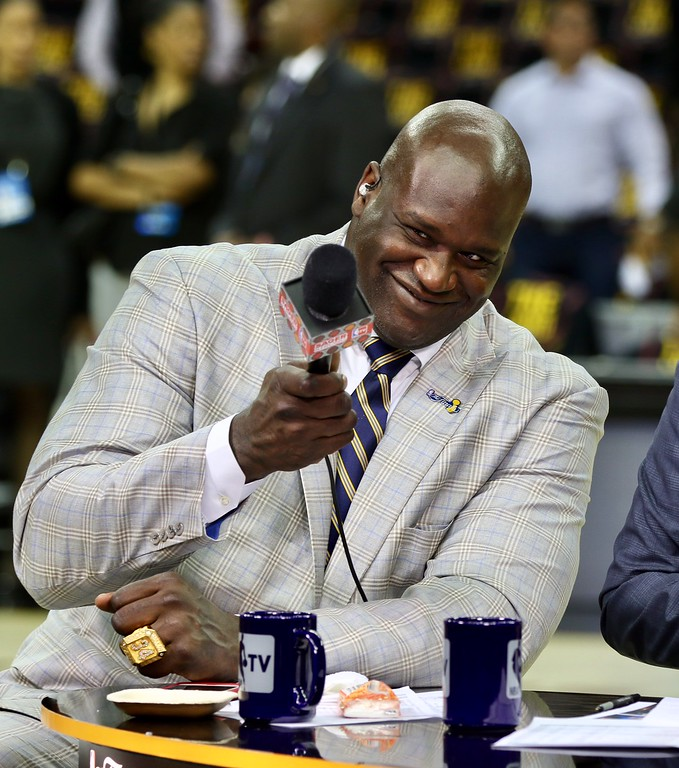 . Tim Phillis - The News-Herald Shaquille O\'Neal before Game 3 of the NBA Finals between the Cavaliers and Warriors on June 7 in Cleveland.
