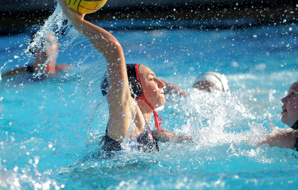 . 02-16-2012--(LANG Staff Photo by Sean Hiller)- Palos Verdes girls water polo defeated Upland 10-8 in Saturday\'s CIF Southern Section Division III quarterfinal at Palos Verdes High School. PV\'s Ellie D\'Ambra scores on Upland\'s Jessica Sapp second half.