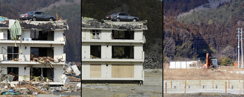 . This combination of pictures shows a vehicle (L) sitting on the top of a three-story building in a tsunami hit area of the town of Minamisanriku in Miyagi prefecture on March 13, 2011 (L);  the same area on January 14, 2012 (C) and on February 20, 2013 (R) after the building was finally demolished.  March 11, 2013 will mark the second anniversary of the massive tsunami that pummeled Japan, claiming some 19,000 lives.          AFP PHOTO / JIJI PRESS (L)  AFP PHOTO / Toru Yamanaka (C)        AFP PHOTO / TOSHIFUMI KITAMURA   (R)