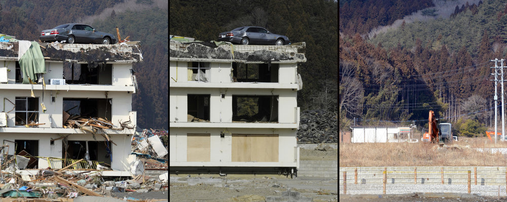 Description of . This combination of pictures shows a vehicle (L) sitting on the top of a three-story building in a tsunami hit area of the town of Minamisanriku in Miyagi prefecture on March 13, 2011 (L);  the same area on January 14, 2012 (C) and on February 20, 2013 (R) after the building was finally demolished.  March 11, 2013 will mark the second anniversary of the massive tsunami that pummeled Japan, claiming some 19,000 lives.          AFP PHOTO / JIJI PRESS (L)  AFP PHOTO / Toru Yamanaka (C)        AFP PHOTO / TOSHIFUMI KITAMURA   (R)