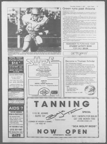 Daily Trojan, Vol. 105, No. 20, October 01, 1987