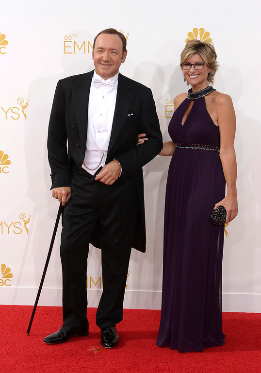 . Kevin Spacey and Ashleigh Banfield on the red carpet at the 66th Primetime Emmy Awards show at the Nokia Theatre in Los Angeles, California on Monday August 25, 2014. (Photo by John McCoy / Los Angeles Daily News)