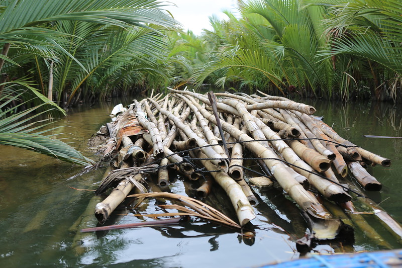 Dried bamboo was first submerged under water.