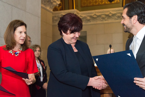 05/02/19 Wesley Bunnell | Staff Polish Day at the Capitol, in its 28th year, took place at the State Capitol Building on Thursday morning which also commemorates the 228th anniversary of the Polish constitution. Citation recipient Elaine Zlotnik shakes hands with State Senator Gennaro Bizzaro as Lt. Governor Susan Bysiewicz looks on. Zlotnik is the current Principal of the Polish Language School in New Britain.