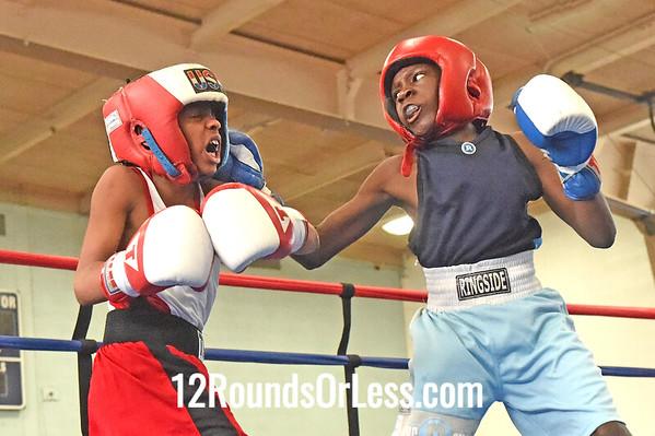 Bout 3 Tyshawn Denson, Blue Gloves, Akron B A -vs- Amare Washington, Red Gloves, Untouchable B A, 75 lb Bantam Div. Championship