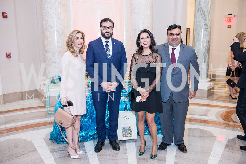 Pani Fiuzi Farkhan, Ambassador Hamdullah Mohib, Marzia Abbasi, Sonny Abbasi, Iranian-American Nowruz Reception, Washington, DC, Carnegie Institute of Science, March 15, 2018.  Photo by Ben Droz.