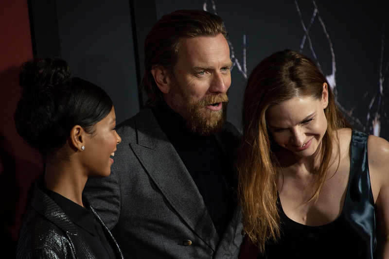 """LOS ANGELES, CALIFORNIA - OCTOBER 29: Kyliegh Curran, Ewan McGregor and Rebecca Ferguson attend the premiere of Warner Bros Pictures' """"Doctor Sleep"""" at Westwood Regency Theater on Tuesday October 29, 2019 in Los Angeles, California. (Photo by Tom Sorensen/Moovieboy Pictures,)"""