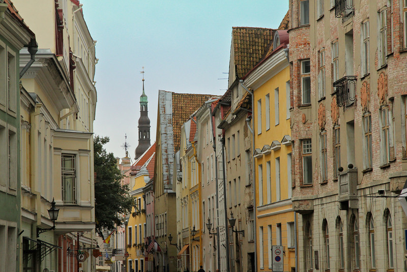 Multi-colored buildings along Pikk Street -Tallinn, Estonia