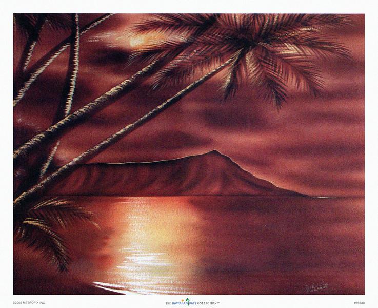 168: Hale Pua Studio -- 'Diamond Head' Originally, oil on board, ca 1940.