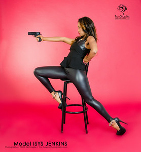 Model: Isys Jenkins - Black and Pleather