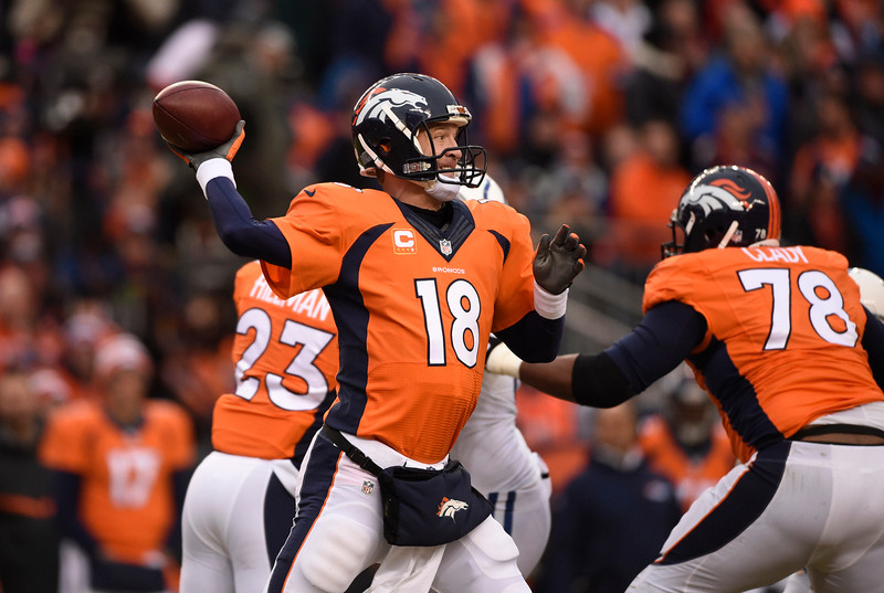 . Peyton Manning (18) of the Denver Broncos throws a pass in the first quarter. The Denver Broncos played the Indianapolis Colts in an AFC divisional playoff game at Sports Authority Field at Mile High in Denver on January 11, 2015. (Photo by AAron Ontiveroz/The Denver Post)