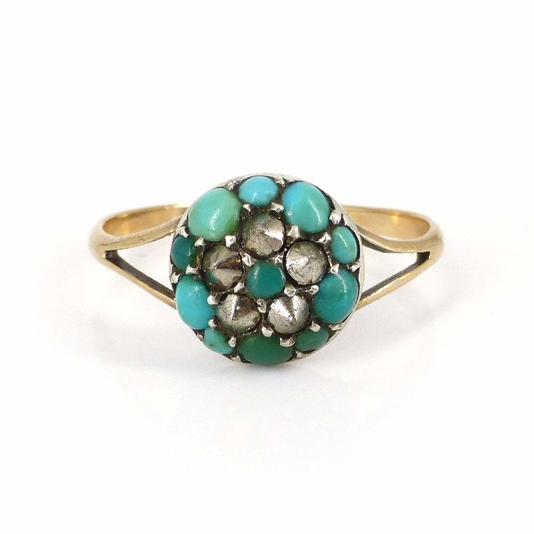 Antique Victorian Gold Turquoise & Marcasite Floral Studded Ring
