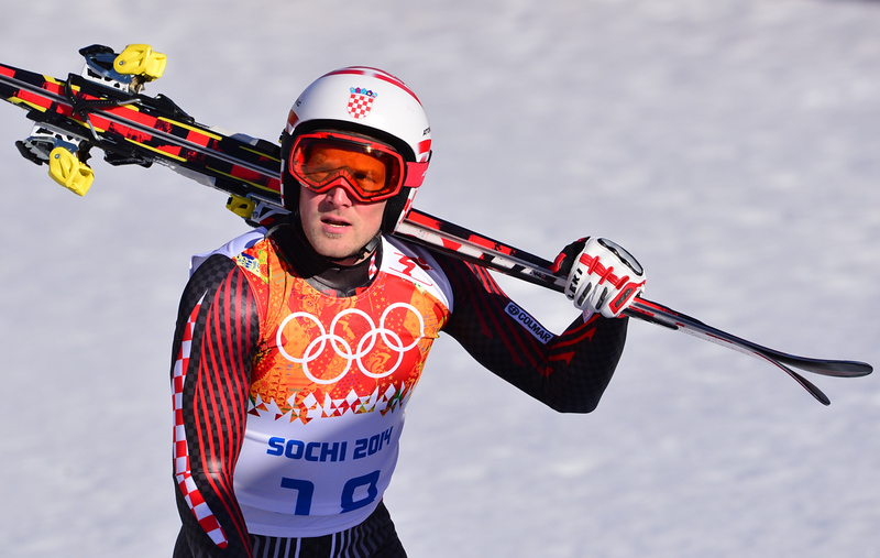 . Croatia\'s Natko Zrnicic-Dim reacts after the Men\'s Alpine Skiing Super Combined Downhill at the Rosa Khutor Alpine Center during the Sochi Winter Olympics on February 14, 2014. (DIMITAR DILKOFF/AFP/Getty Images)