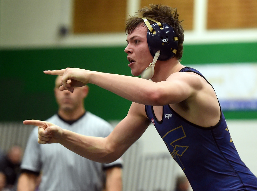 . Cole Hoffman, of Frederick, wins at 132 pounds at the Gary Daum Invitational Wrestling Tournament on Saturday at Niwot High School. Cliff Grassmick  Photographer January 6, 2018