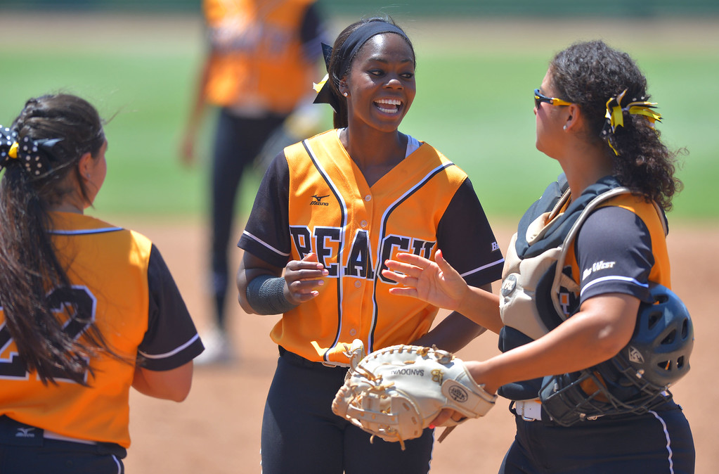 . LBSU\'s Erin Jones-Wesley gets set to pitch before LBSU lost to Cal Poly softball 3-0 in Long Beach, CA on Sunday, May 4, 2014.  (Photo by Scott Varley, Daily Breeze)