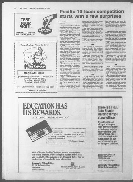 Daily Trojan, Vol. 107, No. 9, September 19, 1988