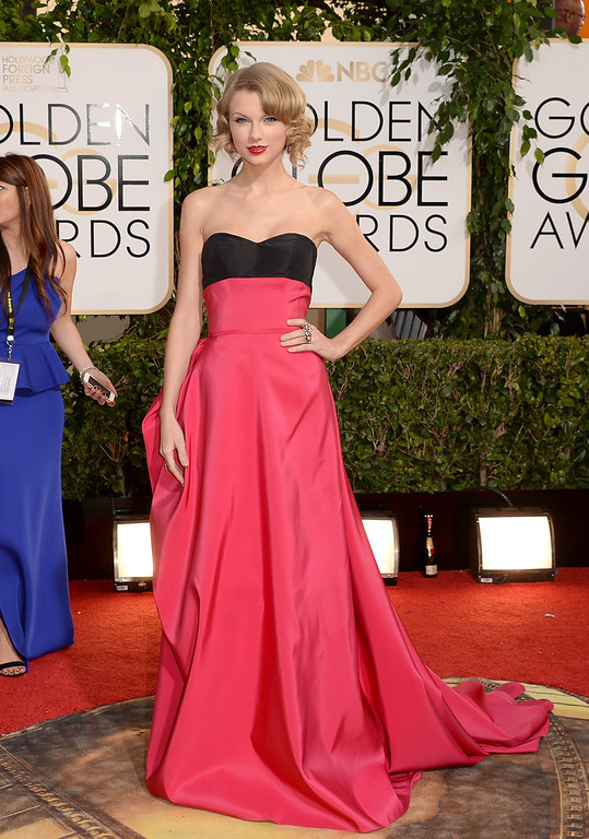 . Singer Taylor Swift attends the 71st Annual Golden Globe Awards held at The Beverly Hilton Hotel on January 12, 2014 in Beverly Hills, California.  (Photo by Jason Merritt/Getty Images)