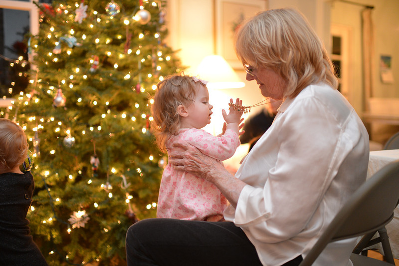 Isabella, my niece, playing with my mom on Christmas Eve