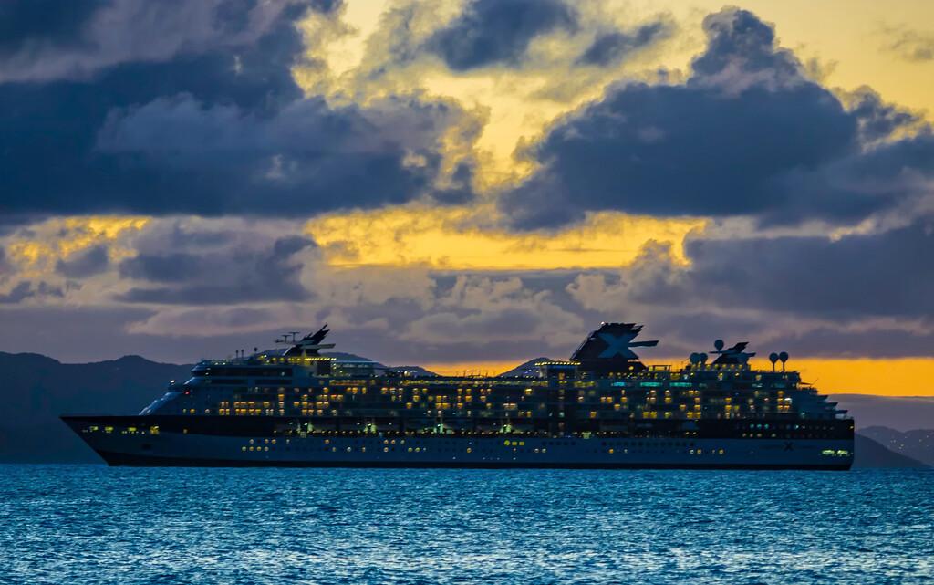 Caribbean Cruise Ship at Night