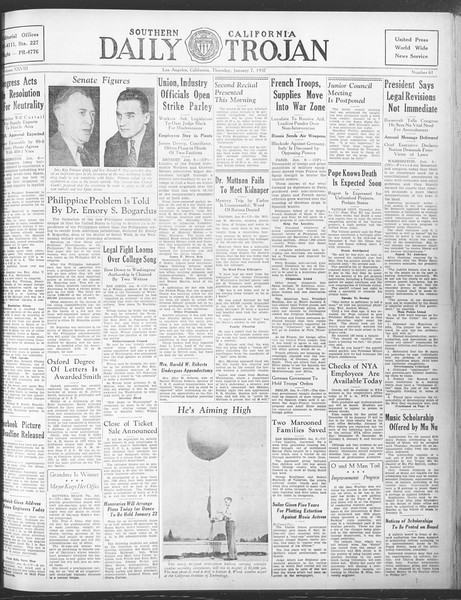 Daily Trojan, Vol. 28, No. 61, January 07, 1937