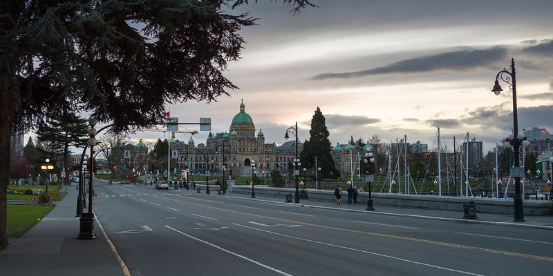 Street with Victoria Legislature Building in the background, Victoria, British Columbia, Canada
