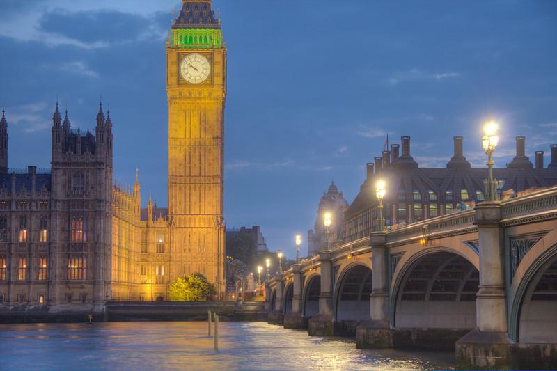 Big Ben and Westminster Bridge. London, UK (HDR)