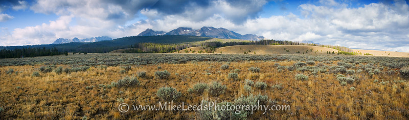 Looking towards the Sawtooth Mountains in Idaho.