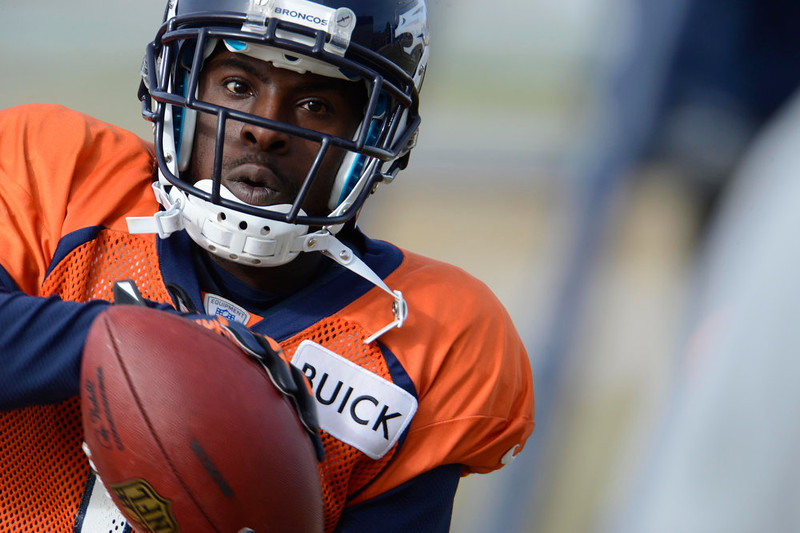 . Denver Broncos wide receiver Trindon Holliday (11) catches a pass during practice Wednesday, January 8, 2013 at Dove Valley.  John Leyba, The Denver Post