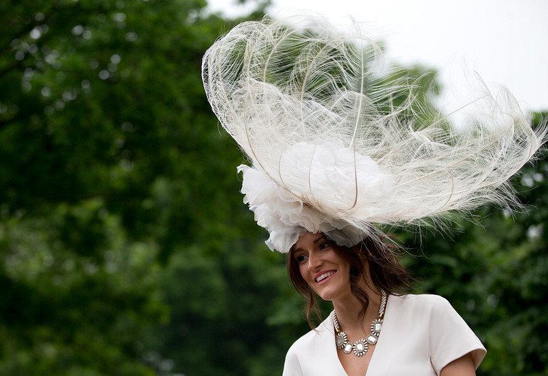 . A racegoer wears an ornate hat on the third day traditionally known as Ladies Day of the Royal Ascot horse race meeting in Ascot, England, Thursday, June 20, 2013. (AP Photo/Alastair Grant)