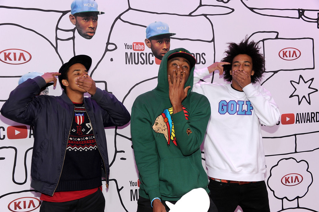 . L-R) Earl Sweatshirt, Tyler The Creator and Taco Bennett attend the YouTube Music Awards 2013 on November 3, 2013 in New York City.  (Photo by Dimitrios Kambouris/Getty Images)