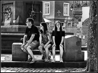 Freiburg  - urban street in black and white