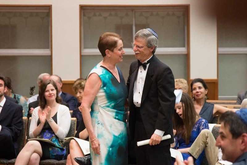Amy Kaufman Goott greets Rabbi Rudolph -- Tour de Rudolph -- Retirement tribute for Rabbi Bill Rudolph, Congregation Beth El, Bethesda, MD, May 17, 2015
