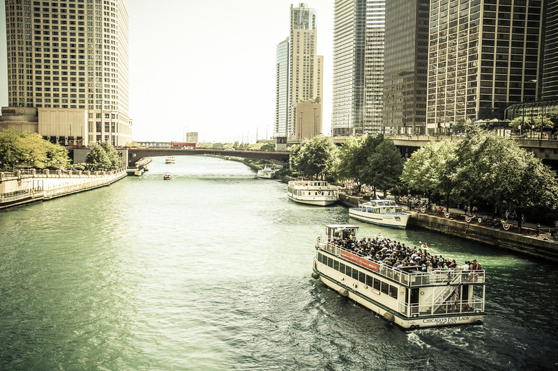 Chicago River, lined with skyscrapers