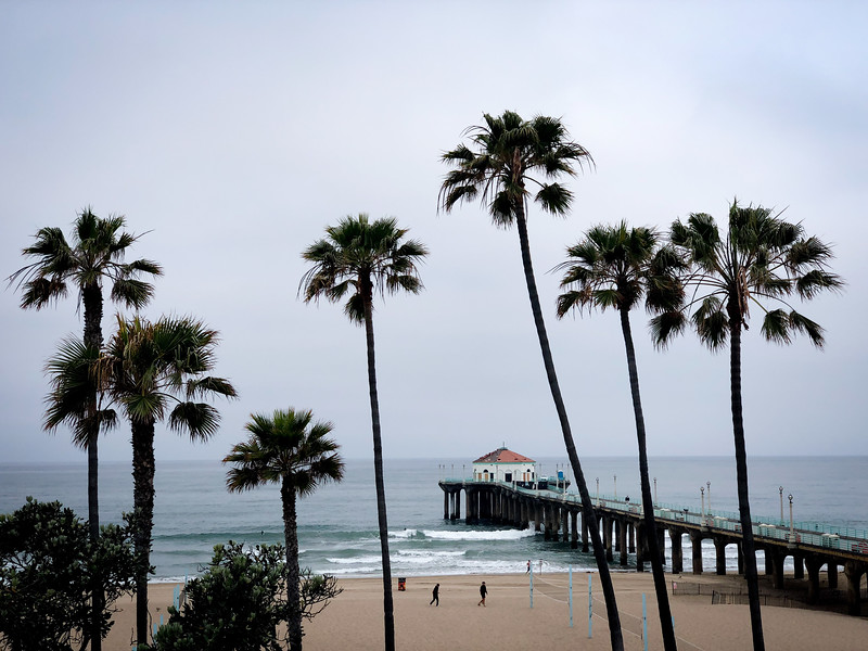 Palm trees, a Pier and some morning surfers in Manhattan Beach