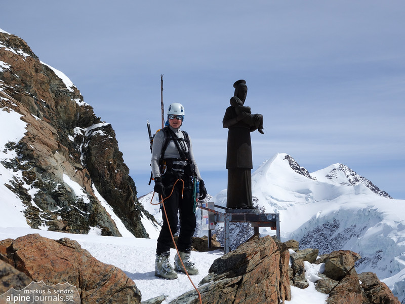 The Madonna on Pollux. Here the climbing ends and there's only an easy snow ridge to the summit.