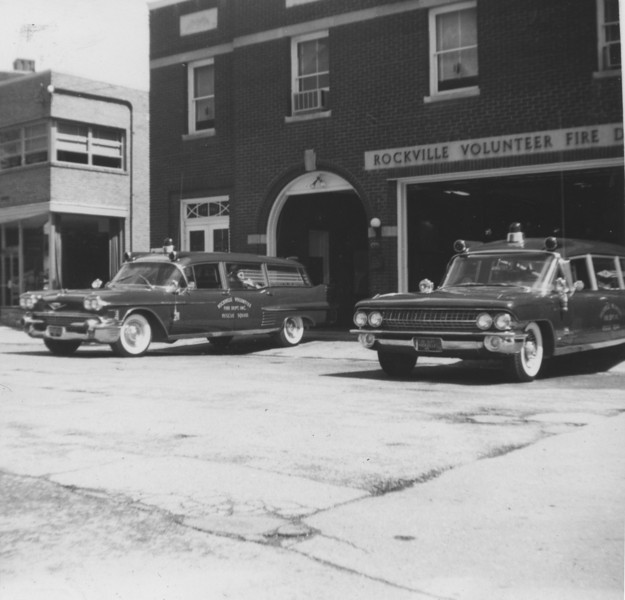 Ambulances in front of fire house 1961