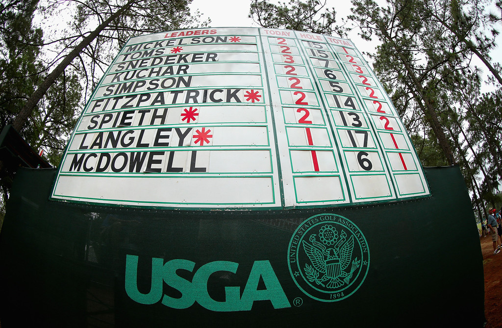 . A leaderboard is seen during the first round of the 114th U.S. Open at Pinehurst Resort & Country Club, Course No. 2 on June 12, 2014 in Pinehurst, North Carolina.  (Photo by Mike Ehrmann/Getty Images)