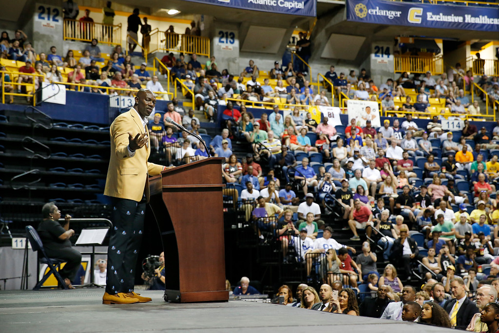 . Former wide receiver Terrell Owens delivers his Pro Football Hall of Fame speech on Saturday, Aug. 4, 2018, in Chattanooga, Tenn. Instead of speaking at the Hall of Fame festivities in Canton, Ohio, Owens celebrated his induction at the University of Tennessee at Chattanooga, where he played football and basketball and ran track. (AP Photo/Mark Humphrey)