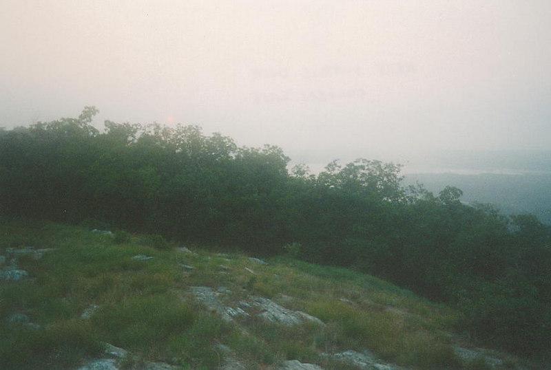 Extra-hazy sunrise overlooking Culvers Lake