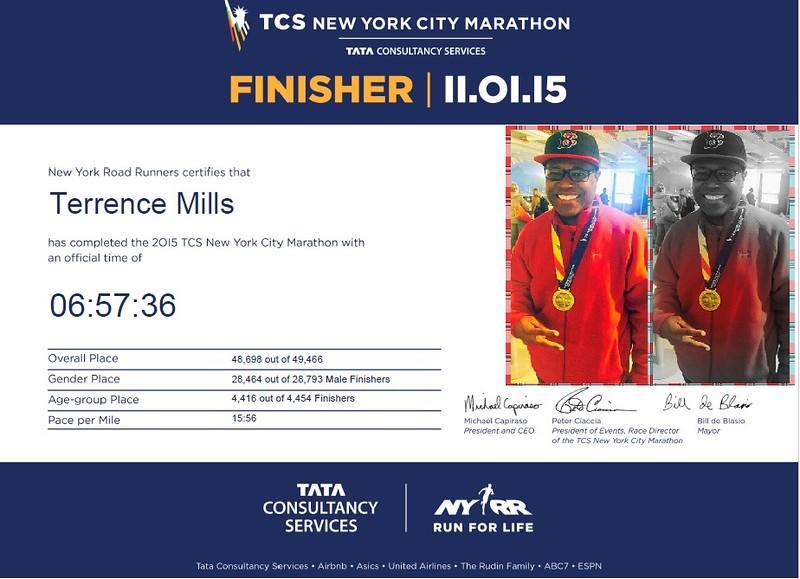 NYC Marathon finisher 2015