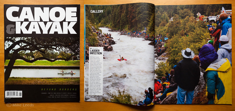 (photo right) Darren Albright making the move at Rodeo Hole in Jacob's Ladder during the North Fork Championship in Idaho, 2012. Canoe & Kayak Magazine August 2012