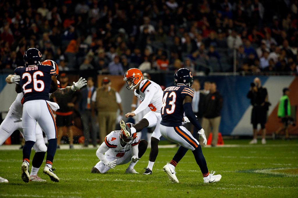 . Cleveland Browns wide receiver Rasheed Bailey (3) kicks a field goal during the second half of an NFL preseason football game against the Chicago Bears, Thursday, Aug. 31, 2017, in Chicago. (AP Photo/Nam Y. Huh)