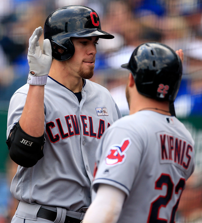 . Cleveland Indians\' Bradley Zimmer, left, is congratulated by teammate Jason Kipnis (22) following his two-run home run off Kansas City Royals starting pitcher Jason Hammel during the second inning of a baseball game at Kauffman Stadium in Kansas City, Mo., Saturday, June 3, 2017. (AP Photo/Orlin Wagner)