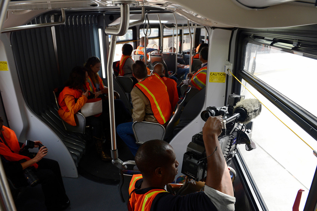 . DENVER, CO. - APRIL 25: Journalists get a first-hand look at the new RTD Free MetroRide bus, on a media tour, Friday morning, April 25, 2014. This free bus service, which begins May 12, 2014, originates from Union Station, heads east up 19th Ave to Broadway, turns at 16th to Lincoln and then heads back to the station with various stops throughout before making it\'s way back to the Union Station Transit Center. (Photo By Andy Cross / The Denver Post)